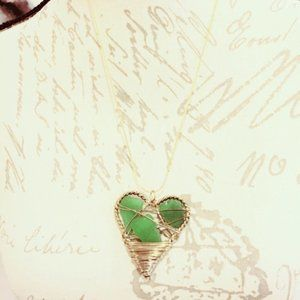 Green Wire Wrap Pendant Necklace